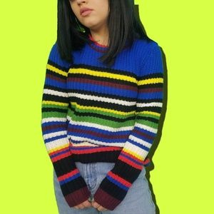 NWT Pink Rose Color Block Rainbow Knit Sweater